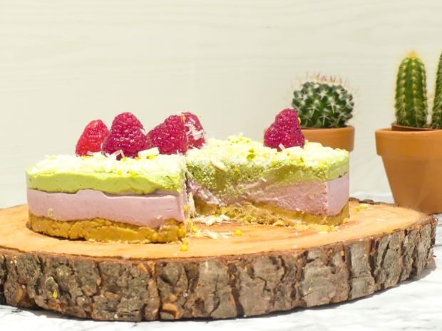 Cheesecake vegan framboise matcha (1)