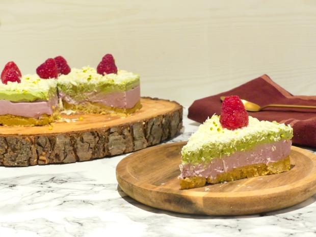 Cheesecake vegan framboise matcha (4)