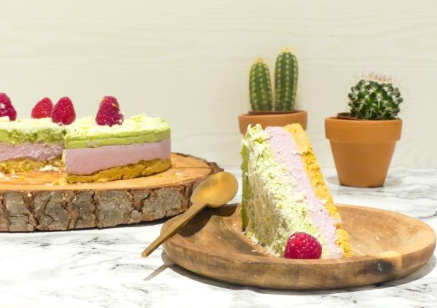 Cheesecake vegan framboise matcha (7)