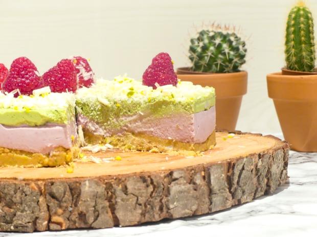 Cheesecake vegan framboise matcha (9)
